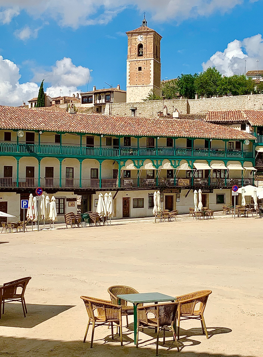 Plaza Mayor in Chinchón with the Torre del Reloj