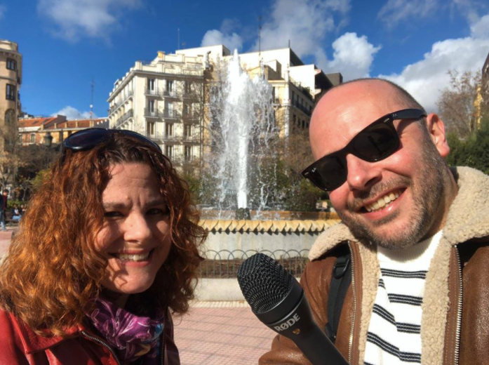 Paul Burge and Karen Rosenblum on Plaza de Olavide