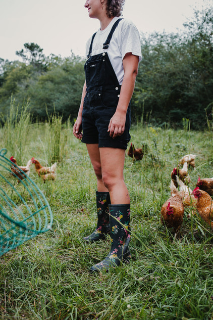 Kate with the Chickens