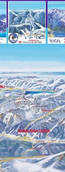 Julijske Alpe (pogled proti jugu) s petimi smučišči