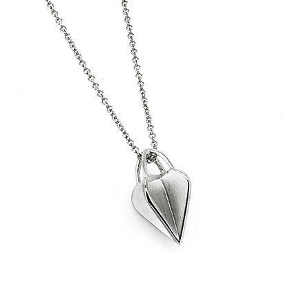 Small Silver Crossed Heart Pendant