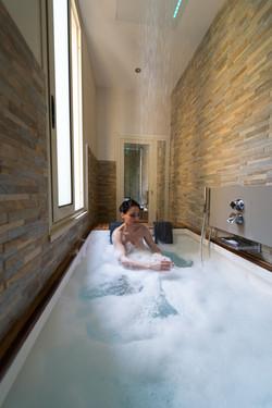 Bath with tropical raining shower