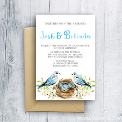 Blue Birds Invitation