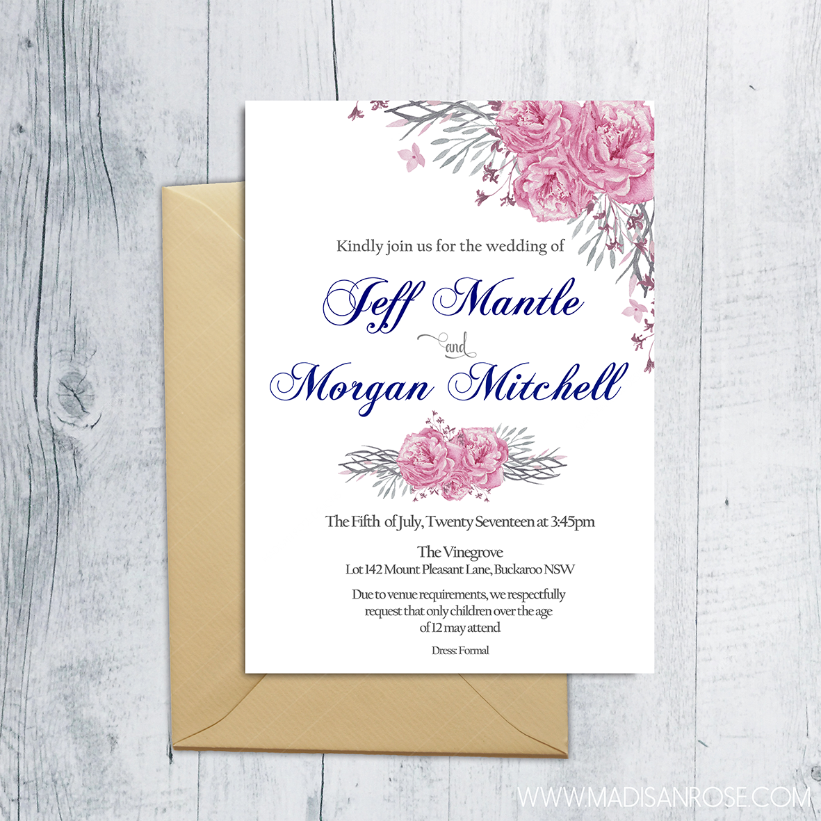 Pink and Navy Invitation