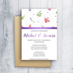 Floral Purple Ribbon Invitation