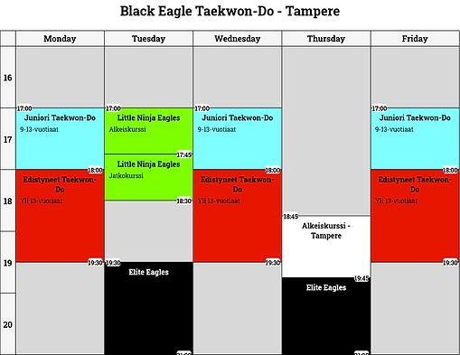 Black Eagle Taekwon-Do - Tampere kalenteri