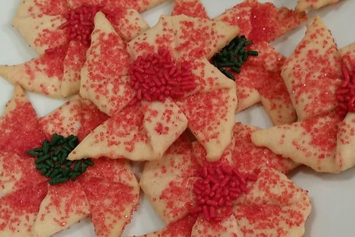 Peppermint Poinsettia Cookies