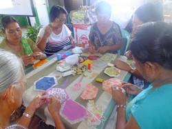 Villagers enjoying craft making