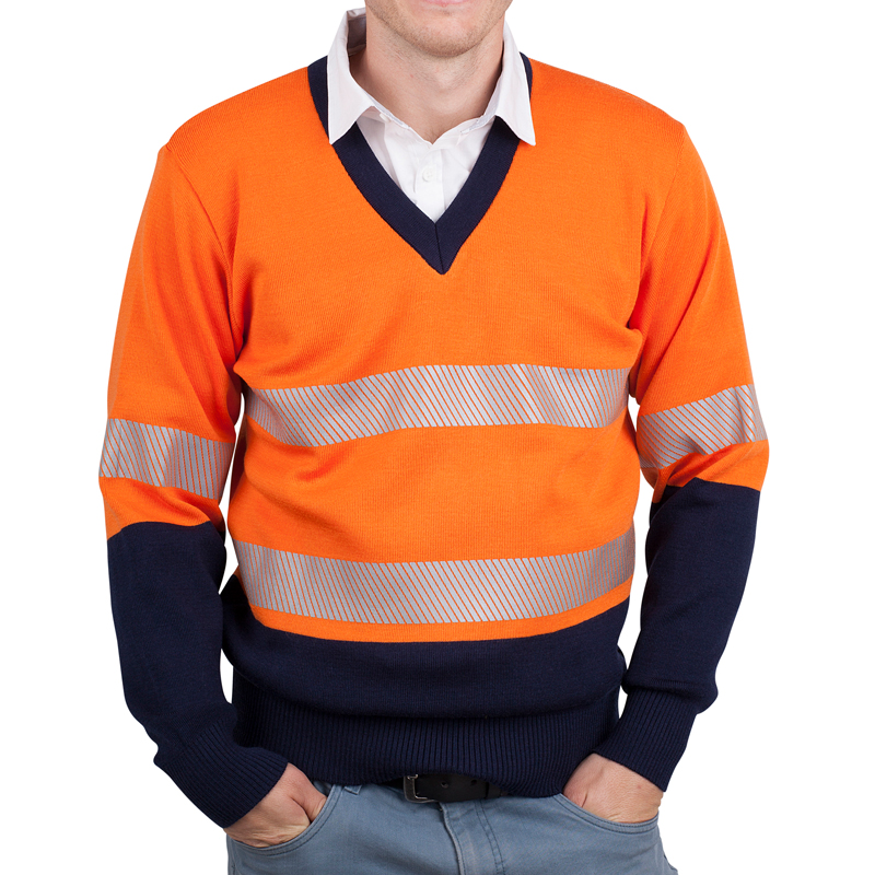 Orange navy pullover with tape