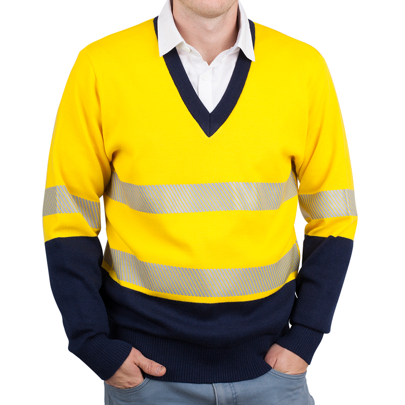 Yellow navy pullover with tape