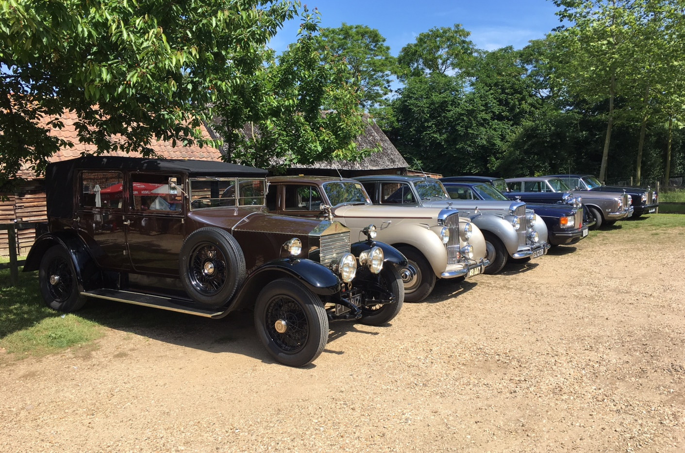 Club cars at the lunch stop