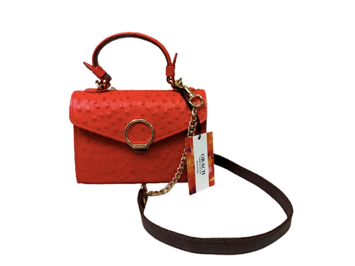 Red Orach Clutch. Exclusive bags made of genuine ostrich.