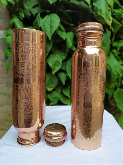 Amrit Plain Hand-etched Copper Bottle| 950ml, 290 gms| Outer Cleaning Required
