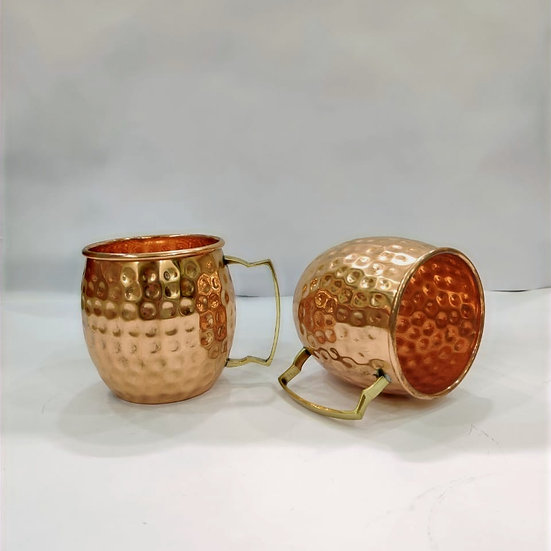The Amrit Life Plain Pure Copper Hammered Moscow Mule Mug Set of 2