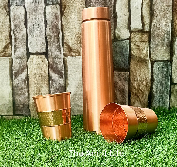 The Amrit Life Matte Look Slim Copper bottle & Tumbler Set