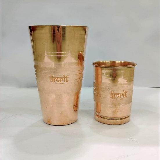 The Amrit Life Plain Pure Copper Bade-Miya Chote-Miya Tumblers Set