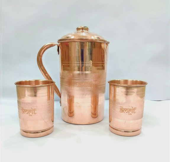 The Amrit Life Plain Pure Copper Jug (2 litres) and 2 Tumblers (250 ml) Set