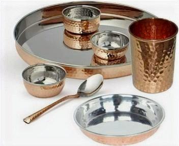 Amrit Steel Copper Thali Set (7 pieces, 2.1 Kgs), Self Sanitizing Amrit Thali