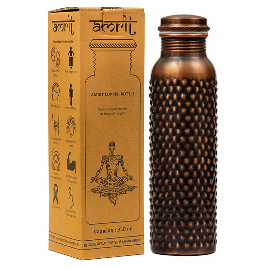Amrit Antique Pine Copper Bottle| 950ml, 300 gms| No Outer Cleaning Required