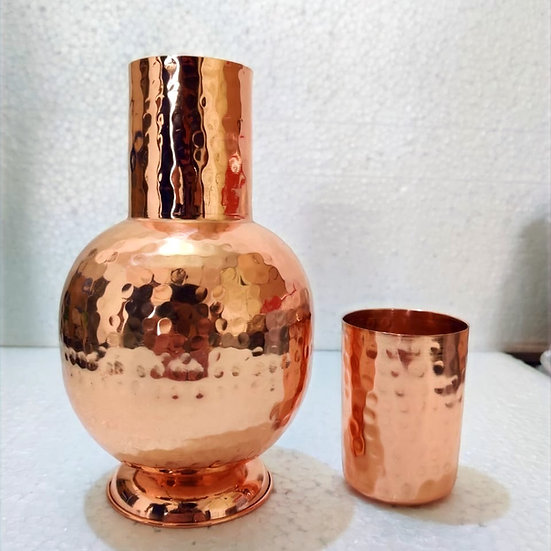 Amrit Hammered Copper Pot  with Glass| Outer Cleaning Required