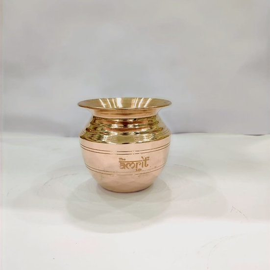 The Amrit Life Plain Pure Copper Lota ( Round Water Pot)