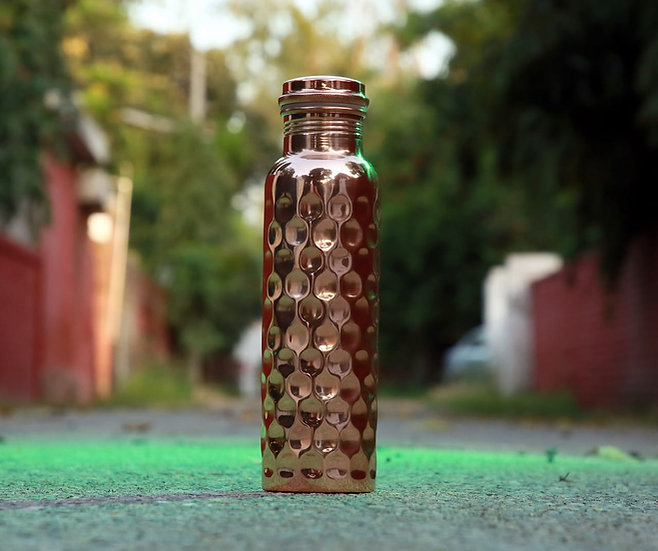 Amrit Raw Diamond Copper Bottle| 950ml, 300 gms| Outer Cleaning Required