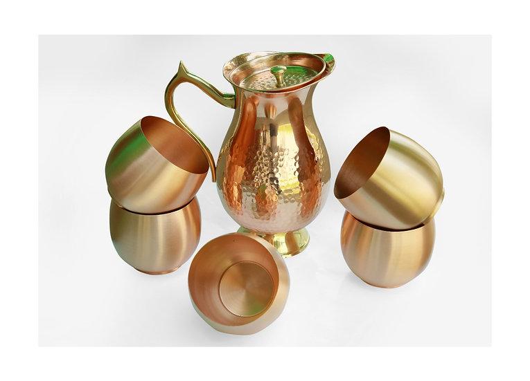 Amrit Mughlai Copper Giftset| Brass Handle | Royal Matte Finish