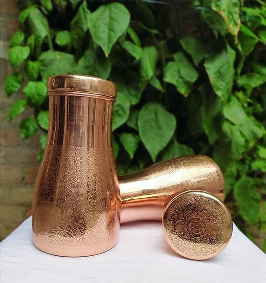 Amrit Plain Hand-etched Copper Sugar Pot| 900ml, 360 gms| Hand-etched
