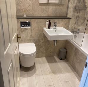 Wall hung WC and basin
