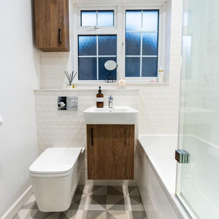 Compact bathroom with wall hung WC and basin unit
