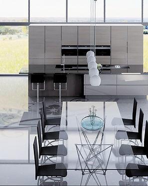 Fugenlose Boden für Eßzimmer und Küche mit Glitzer und Ornament