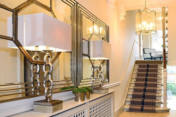 Chelsea Townhouse lighting stairwell stair runner radiator cover entryway