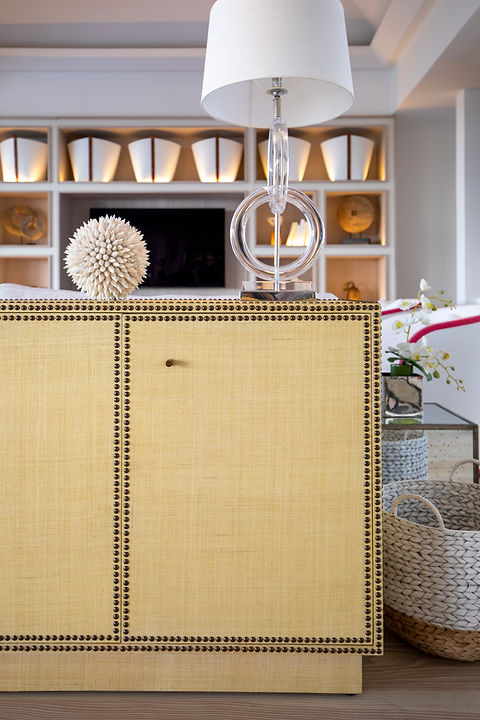 Private Residence St Barth's bespoke joinery sideboard living room drawing room woven basket