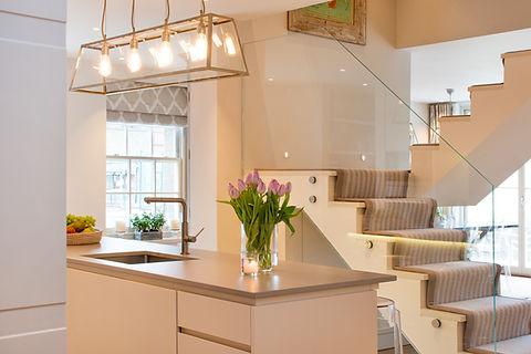London Townhouse kitchen open stairway