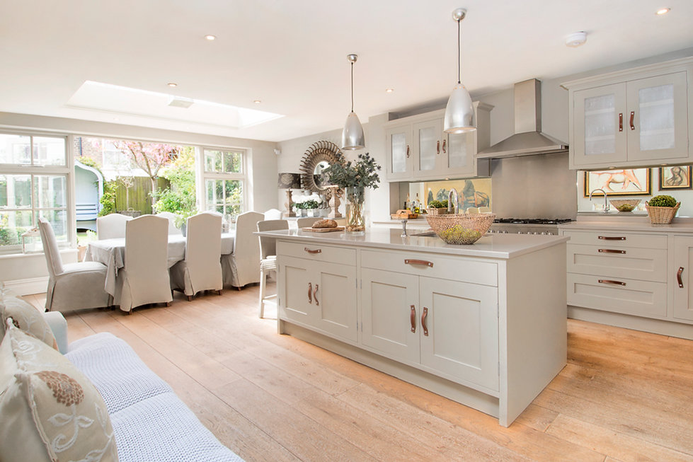 London Townhouse bespoke kitchen leather pull handles open plan dining
