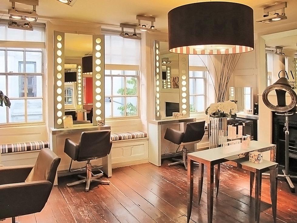 Charles Worthington Salon Covent Garden stylist chairs haircut cutting floor large pendant