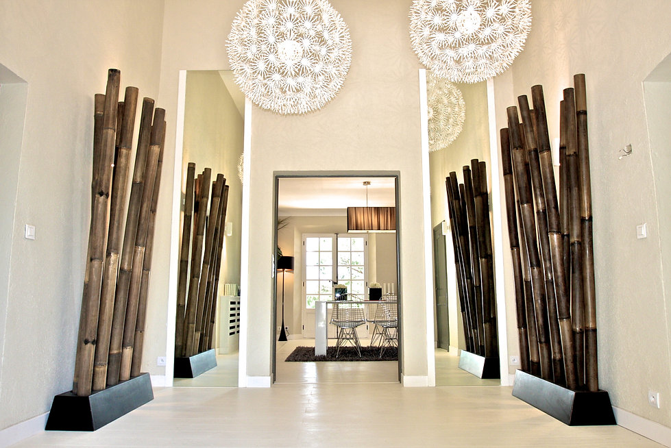 St Tropez Villa France entry bold bamboo sculpture large pendant lighting