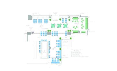 Hotel Puerta America restaurant and bar design floor plan drawing
