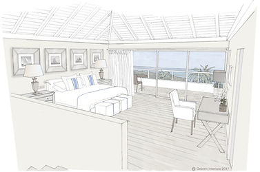 Hotel Le Toiny luxury hotel interior design perspective drawing