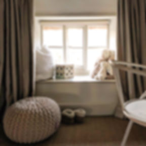 Cotswolds Cottage bedroom cosy woven poof textures kid's room