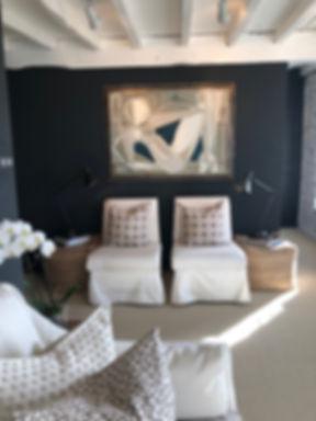 Interior Design Studio artwork pillows poufs