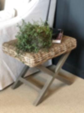 Interior Design Studio white furniture woven side table plants detail