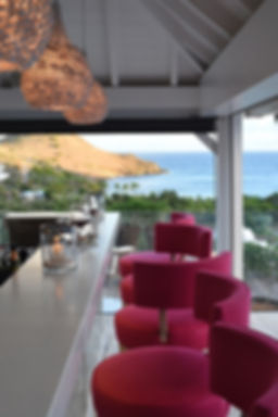 Hotel Le Toiny St Barth's bar pink seating ocean views