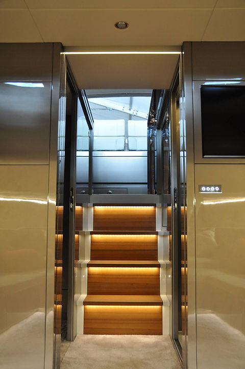 Private Yacht interior design luxury wood timber stair lighting