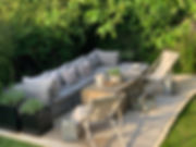 Cotswolds Cottage lounging outdoor couch sofa seating fabric plant