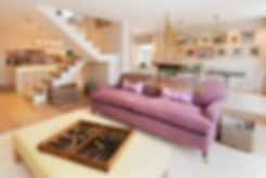 London Townhouse living room lounge open plan kitchen open stairway vistas