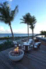 Hotel Le Toiny St Barth's Pool and Fire pit sunset