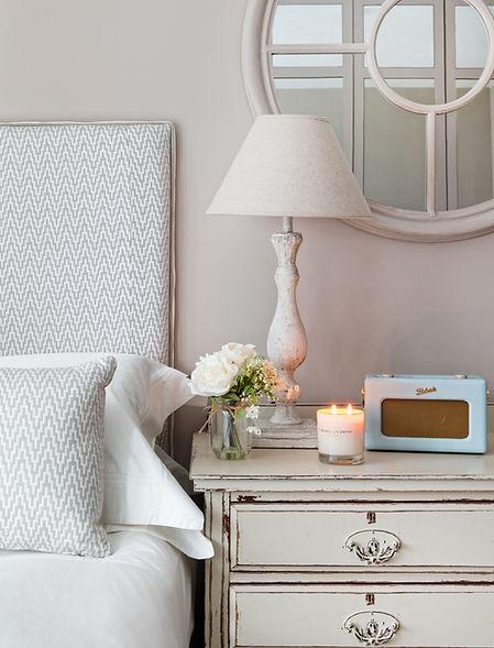 Shoreditch apartment white eclectic accessories round mirror bespoke headboard