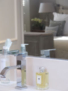London Townhouse master bath faucet tap details master bedroom mirror reflection