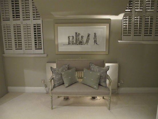 London Townhouse master bedroom settee pillows symmetry